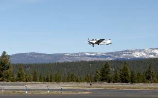 A plane takes off at Truckee Tahoe Airport.