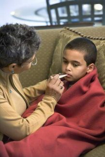 Your child should stay home from school if he or she has a temperature of 101°F or more and remain out of school for 24 hours after the fever subsides.