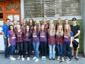 Local soccer club Barcelona Nor Cal is pictured in Barcelona, Spain, where it was invited to train in the shadow of the Camp Nou stadium and compete against local teams. Back row left to right: Coach Casey Eberhardt, Chloe Murphy, Paulina Thrasher, Nichole Graham, Kayla Redner, Sarah Svoboda, Brenna Wapstra-Scott, Shannon Cardoza, Makenzie Milner, Coach Travis Spencer, (front row, left to right): Daisy Rivera, Megan Larson, Marcelle Reynaud, Carina Rivera, Carly Johnson, Lynde Tucker, Lauren Larson and Nicole Harris.