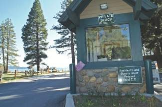 "A look at one of the Incline beach kiosks, which at one point were labeled with signs reading ""private beach"" prior to Steven Kroll's lawsuit being filed. The beaches since have been deemed ""public with restrictions."""