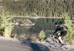 A cyclists rolls by Emerald Bay during a ride on the South Shore. Wearing bike shorts is the start to a smooth, comfortable bike ride.