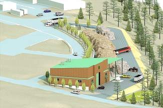 A rendering of the Cabin Creek Biomass Energy Facility, showing a 3D representation of the building design, truck operations and biomass material piled in the background. Groundbreaking is anticipated next spring, with operations starting in early 2016.