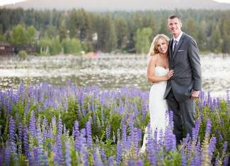 Brian and Danielle Larson wed at the Gatekeeper's Musem in Tahoe City.