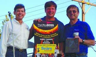 From left: Jeff Ridgel, owner of the Office BOSS, prize winner Mark Tanner and Charlie Riley, owner of Truckee Sears Town Store celebrate the advantages of shopping locally.