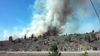 The image from the North Tahoe Fire Protection District shows smoke emitting from the wildfire near Boca Reservoir at about 4:30 p.m. Monday.