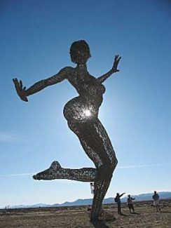 'Bliss,' a 40-foot tall metal sculpture, was a Burning Man favorite on the playa during the 2010 festival.