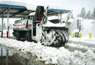 A Caltrans snowblower is fueled and ready to roll near Donner Summit during the 2011-12 winter.