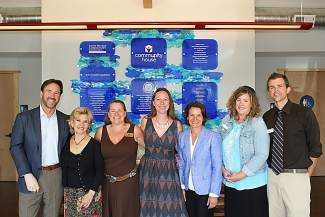 Local leaders step up to create innovative solutions to community needs in Tahoe at the newly opened Community House in Kings Beach. From left: Andy Wirth, president and CEO, Squaw Valley Ski Holdings; Patti Boxeth, Tahoe Truckee Community Foundation, board member; Jennifer Montgomery, Placer County 5th district supervisor; Stacy Caldwell, CEO, Tahoe Truckee Community Foundation; Amy Kelly, executive director, North Tahoe Family Resource Center; Heidi Allstead, executive director, Project MANA; and Paul Bancroft, program director, Tahoe SAFE Alliance.