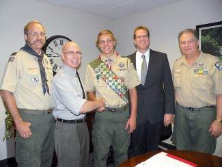 From left: Kent Hanson, Simeon Vance, Ron Turner, and Rob Cofer congratulate new Eagle Scout Thor Retzlaff.