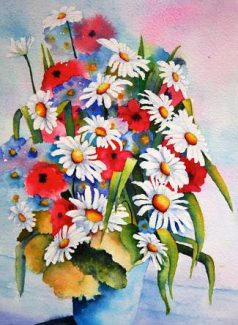 "Daisies and Poppies, a 14-inch x 11-inch watercolor by Eva S. Nichols from her ""Spring Flowers Class."""