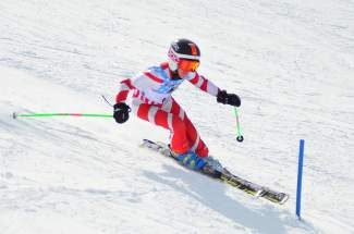 Nickco Palamaras of the Northstar Race Team competes in the slalom race at the Far West U10/12 Championships at Sugar Bowl.