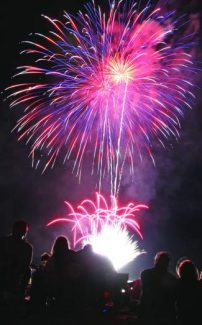 Residents view a past Red, White and Tahoe Blue fireworks show from the shores of Incline Beach.