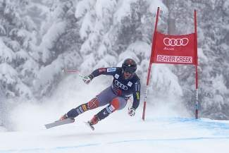 Squaw Valley skier Travis Ganong, shown in a training run at Beaver Creek, Colo., last season, finished fifth in the Birds of Prey Downhill on Friday.