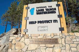 These signs welcome visitors to the Lake Tahoe Basin. One is located on the Mt. Rose Highway as motorists approach Incline Village.
