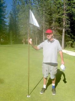Bob Toliver celebrates his hole-in-one at Tahoe Donner Golf Course last week.