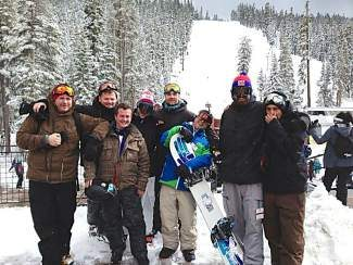 This group of British residents won a ski vacation to Lake Tahoe through a contest put on by the country's largest and oldest ski magazine, Good Ski Guide.