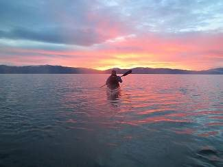 Glass-like conditions made Lake Tahoe smooth paddling for Wellman and Arnow.