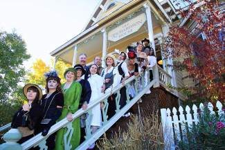 2012 Historical Haunted Tour docents on the steps of The Richardson House, a historic home in downtown Truckee.