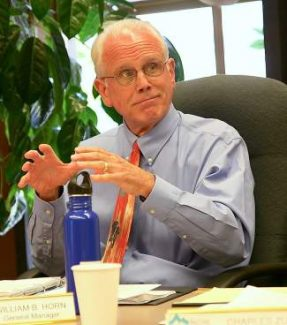 """IVGID General Manager Bill Horn, seen here at a previous board meeting, said he was """"pleased"""" with trustees' 5-0 vote Wednesday to approve his separation agreement from the district."""