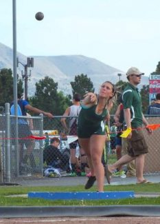 Incline sophomore Sami Lampe heaves the shot put at the High Desert Invite at Reed on Saturday.