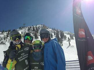 Tahoe athletes Sam Beilman, Zach Williams, Jordy Guldman and Cooper Davis take time out for a photo at the bottom of the Silver Fox venue at the North American Junior Freeskiing and Snowboarding Championships at Snowbird, Utah.
