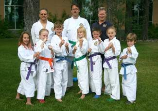 Truckee's Pacific Crest Martial Arts will participate in the USA National Karate Championships in Reno this Thursday through Sunday. Pictured left to right, back row: Michael Lavallee, Sempi John McCormick, Sensei Tony Altieri; front row: Reagan McCormick, Rio Coll, Dylan Riley, Trinity Coll, Aden Lyle, Sawyer Coll, Aiden Trowe.