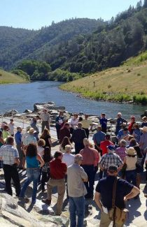 Placer County Resource Conservation District tour participants visit the American River pump station near the Auburn Dam overlook.