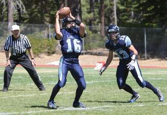 North Tahoe's Brandon Hayakawa (16) and Alex Bourriague (13), shown in their season-opening game against Pyramid Lake, combined for six touchdowns in a 53-40 win at Whittell last week.