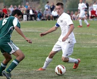North Tahoe senior Wildon DesLauriers scored a goal in a 2-0 win over Bear River on Wednesday.