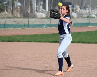 North Tahoe shortstop Valencia Covell makes a play in a previous home game. The Lakers dropped a pair against Battle Mountain on Saturday.