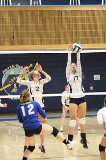 North Tahoe's Sherene Clegg gets up for a block during the Lakers' five-set loss against Coleville on Tuesday.