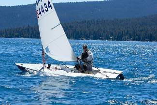Rick Raduziner sails in the breeze before the start of Monday's Laser races off of Tahoe's north shore.