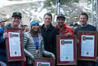 From left, Squaw Valley athletes Nate Holland, Julia Mancuso, Travis Ganong and Marco Sullivan were honored by State Sen. Ted Gaines (middle) and others on Friday. All four competed in the 2014 Winter Olympics in Sochi, Russia, where Mancuso earned a bronze medal (which she wore to Friday's celebration).