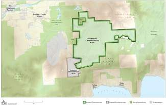 A map of the land intended to be preserved in Martis Valley and the area proposed to be designated for development, which is drawing environmental concerns from basin groups.