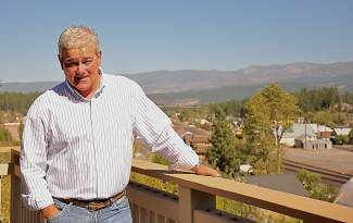 Bob Marr enjoys the views of downtown Truckee from his business's  location at 10363 High Street.
