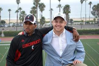 Truckee grad Morgan Nevin, right, and Santa Barbara City College teammate Jarred Evans signed their respective letters of intent Wednesday. Nevin received a full-ride scholarship to Sacramento State. Evans will play at Cincinnati.