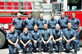 The North Tahoe Fire Protection District's new full-time and part-time hires. Back row, from left, Andrew Pinkham, Lucas Frey, Rhett Stemmler, Kevin Gilley, Erick Gustafson and Jerry Sheehan. Front row, from left, Steve Kehler, Nicole Beatie, Paul Moen, Mike Braziel, Brady Glauthier and Jason Boyd. A $1.61 million Staffing for Adequate Fire and Emergency Response grant awarded to the district covers the salaries, wages and benefits for nine of the full-time firefighters for two years.