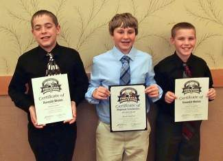 Scholar-athletes Nathan Dabol, Jacob Bullion and Connor McMullen (left to right) represented Truckee Pop Warner at the Pop Warner Little Scholars Regional All-American Scholars banquet in Vancouver, Wash.