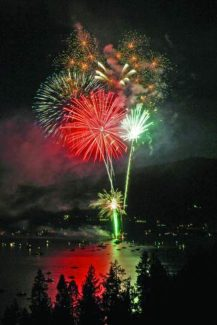 Fireworks explode over Lake Tahoe, near the shores of Incline and Ski beaches, during a previous Red, White and Tahoe Blue festival.