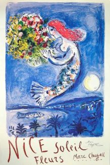 """""""Nice, Soliel, Fleurs"""" (La Naie des Anges), circa 1962, is one of Marc Chagall's well-known pieces."""