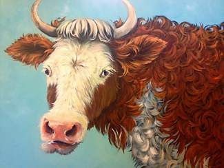 "Meet ""Elsie,"" the Swiss brown curly cow, by Susie Alexander at Riverside Studio's First Friday event."