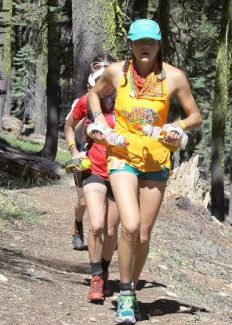 Rory Bosio, shown competing in the Western States Endurance Run this past June, placed first among women while setting a course record in The North Face Ultra Trail du Mont-Blanc in Chamonix, France, this past weekend. Bosio broke the record by more than 2 hours in the roughly 104-mile race.