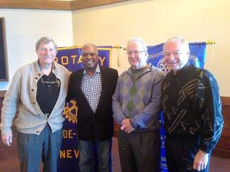 From left, Club President Bruce McNulty welcomed Booker T. Jones as guest speaker at a recent meeting of the Rotary Club of Tahoe-Incline, along with Club members Jim O'Brien and Mike Chamberlain.