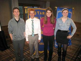 From left, local teens Ryan Eppolito, Mitch Cornell, Alexandra Resney and Chloe Whatmore recently participated in the local Rotary Club speech contest.