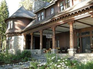 """Turn-of-the-century banker Isaias Hellman built """"the finest High Sierra summer house in California"""" a rustic, yet elegant three-story mansion overlooking the lake, known as Pine Lodge or the Ehrman Mansion."""