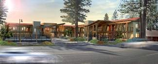 A look at a rendering of the proposed campus for Tahoe Expedition Academy, located on the south side of Highway 28 in Kings Beach, just off the North Shore of Lake Tahoe at the Crown Motel property.