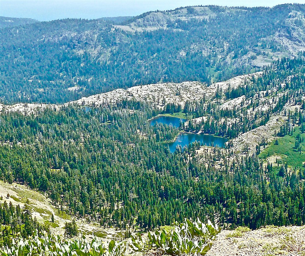 View From Above: A look at a slightly smoky Five Lake Basin, as seen from the top of Squaw Peak on Aug. 7.Photo: Michael Monroe