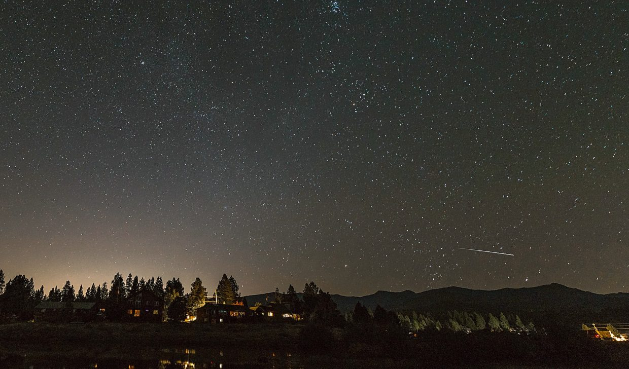 Starry Night: An early morning look on Aug. 14 from the west end of the Glenshire Pond of the Perseid meteor shower.Photo: John Britto