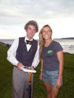Kristen Spees, candidate for District 2 U.S. House of Representatives, was introduced by Mark Twain impersonator McAvoy Layne at a recent event at Burnt Cedar Beach.
