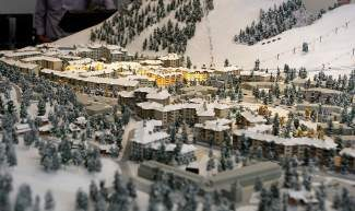 Pictured is an overview of the proposed village expansion plan for Squaw Valley in a 3D model, with the lit area representing the exisiting village. A larger model, with new features, will be installed soon, officials said. Normal model viewing hours are from 11 a.m. to 5 p.m., Monday through Saturday, at Base Camp, located in the village near Sierra Sotheby's International Reality.
